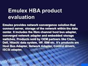 Emulex 8GB HBA Product Evaluation