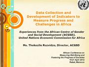 Data Collection and Development of Indicators to Measure Progress ...