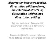 dissertation help introduction, dissertation editing editors