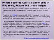 Private Sector to Add 11.5 Million Jobs in Five Years