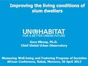 Improving the living conditions of slum dwellers