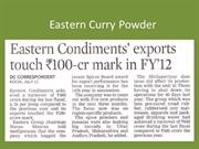 Eastern Curry Powder  Exports touch 100 Cr  mark in 2012