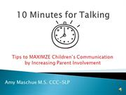 Tips for SLPs 10 Minutes for Talking