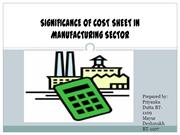 SIGNIFICANCE OF COST SHEET IN