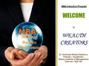 MBA - Induction @ Galaxy Institute of Management,  Chennai