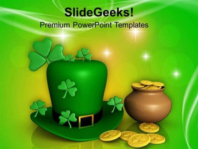 church 3d pot with coins and shamrock hat ppt template powerpoint