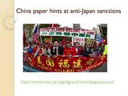 Springhill group korea - China paper hints at anti-Japan sanctions