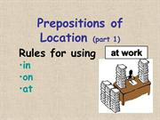 Prepositions of Location, Part 1