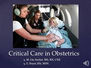 Critical Care in Obstetrics