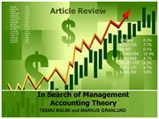 In Search of Management Theory(Article Review