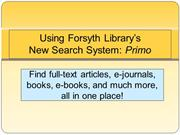 How to Find Books, Articles and more with Primo