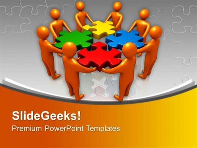 PEOPLE 3D TEAM COMBINES JIGSAW PUZZLES SOLUTION PPT TEMPLATE
