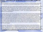 European Central Bank's Outright Monetary Transactions (OMT): The Bazo