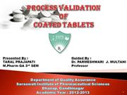 PROCESS VALIDATION OF COATED TABLETS