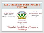 ICH Guidelines for stability testing PPT by  amol m. sabale