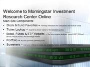 Welcome to Morningstar Investment Research Center Online 10/20