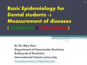 3.Basic Epidemiology for Dental Students ( Incidence & Prevalence) by