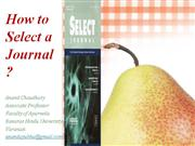 How to select a journal ?