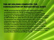 TNK-BP HOLDING COMPLETES THE CONSOLIDATION OF RUSSIAN RETAIL ASSETS