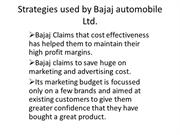 Strategies used by Bajaj automobile Ltd