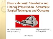 Electric Acoustic Stimulation and Hearing Preservation