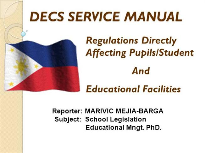 marivic m barga school legislation decs service manual authorstream rh authorstream com DepEd School DepEd Tambayan Taga DepEd Ako Grade Two