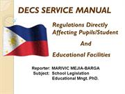 MARIVIC M. BARGA SCHOOL LEGISLATION- DECS SERVICE MANUAL