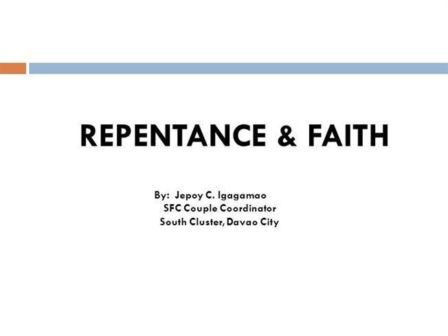 Repentance and Faith in the New Testament