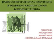 BASIC CONSTITUTIONAL PROVISIONS REGARDING REGULATION OF BUSINESS IN IN