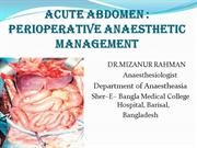 Perioperative Management Of Acute Abdomen