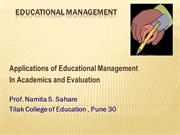 Educational Management of Evaluation in schools