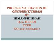 process validation of ointment, creams