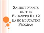 Salient Points on the Enhanced K+12 Basic Education