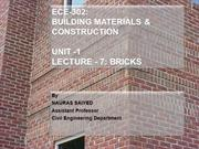 Bricks - as building material