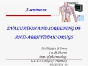 Evaluation and screening of Antiarrhythmic drugs