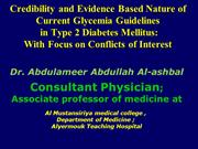 Dear Iraqi medical board students:Conflicts of inerest inT2DM g