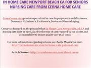 In Home Care Newport Beach CA for Seniors Nursing Care From Cerna Home