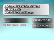 Drug and cosmetic act 1940-administrative part