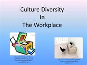 Culture Diversity in the Workplace