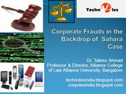 Corporate Frauds in the Backdrop of  Sahara Case