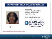 Department Chair Welcome Note