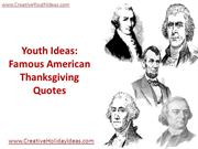 Youth Ideas - Famous American Thanksgiving Quotes