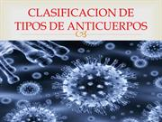 CLASIFICACION DE TIPOS DE ANTICUERPOS