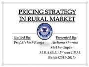PRICING STRATEGY IN RURAL MARKET
