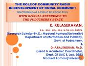 Community Radio for Rural Development in Puducherry Kulasekaran PRO