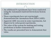 AUTOMATED ELECTROLYSIS - EXPERIMENTS 4-11