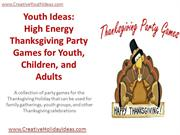 Youth Ideas - High Energy Thanksgiving Party Games for Youth, Children