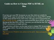 Guide on How to Change PDF to HTML