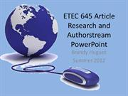 ETEC 645 Article and Authorstream Power Point