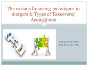 The various financing techniques in mergers & Types